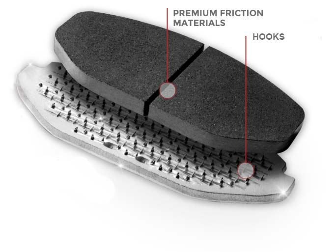 NRS brake pads with hook back plate---Powertech brakes